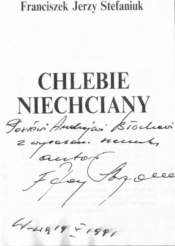 Stefaniuk poseł Sejm dedykacja Błoch autograf polityka poezja polityczna wiersze Chlebie niechciany rolnik